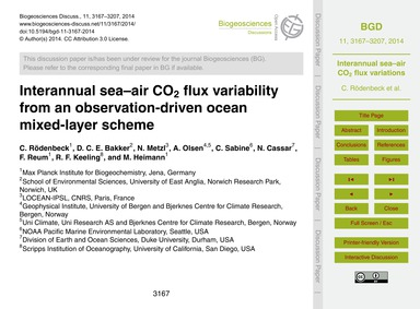 Interannual Sea–air Co2 Flux Variability... by Rödenbeck, C.