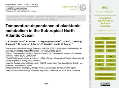 Temperature-dependence of Planktonic Met... by García-corral, L. S.