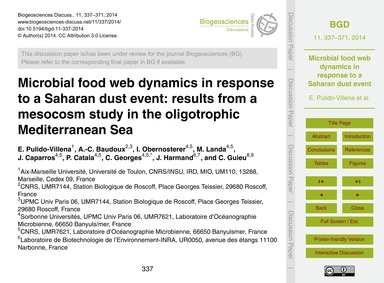 Microbial Food Web Dynamics in Response ... by Pulido-villena, E.