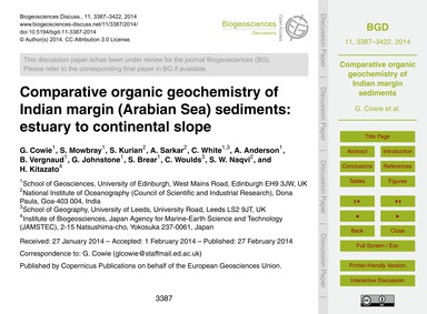 Comparative Organic Geochemistry of Indi... by Cowie, G.