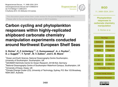 Carbon Cycling and Phytoplankton Respons... by Richier, S.