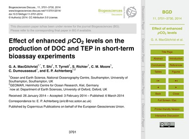 Effect of Enhanced PCo2 Levels on the Pr... by MacGilchrist, G. A.