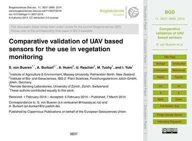 Comparative Validation of Uav Based Sens... by Von Bueren, S.