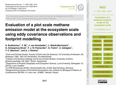 Evaluation of a Plot Scale Methane Emiss... by Budishchev, A.