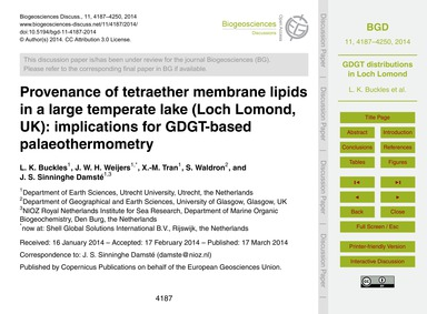 Provenance of Tetraether Membrane Lipids... by Buckles, L. K.