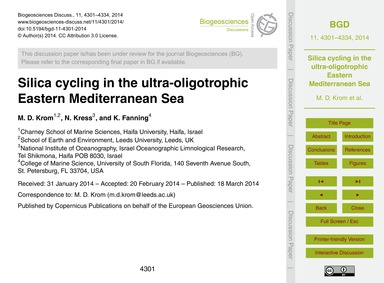 Silica Cycling in the Ultra-oligotrophic... by Krom, M. D.