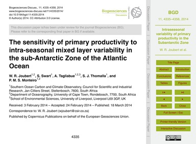 The Sensitivity of Primary Productivity ... by Joubert, W. R.