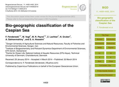 Bio-geographic Classification of the Cas... by Fendereski, F.