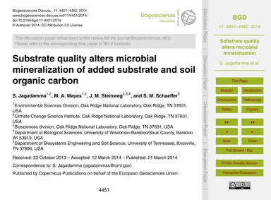 Substrate Quality Alters Microbial Miner... by Jagadamma, S.