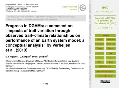 Progress in Dgvms: a Comment on Impacts ... by Higgins, S. I.