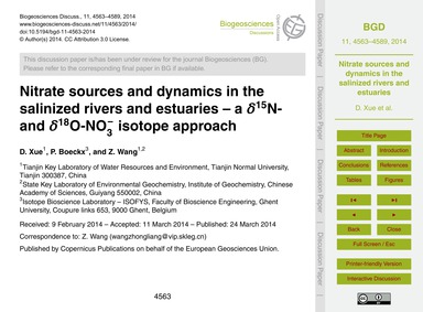 Nitrate Sources and Dynamics in the Sali... by Xue, D.