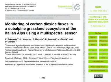 Monitoring of Carbon Dioxide Fluxes in a... by Sakowska, K.