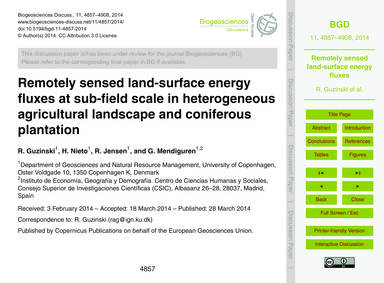 Remotely Sensed Land-surface Energy Flux... by Guzinski, R.
