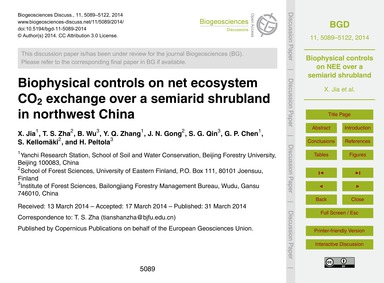 Biophysical Controls on Net Ecosystem Co... by Jia, X.