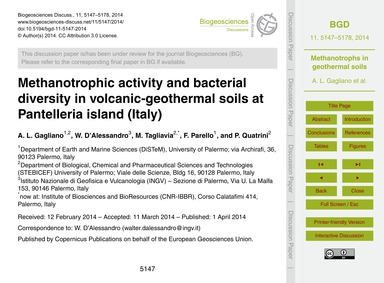 Methanotrophic Activity and Bacterial Di... by Gagliano, A. L.