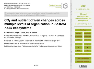 Co2 and Nutrient-driven Changes Across M... by Martínez-crego, B.