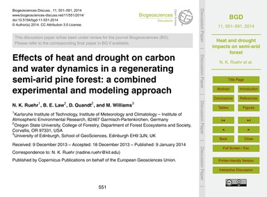 Effects of Heat and Drought on Carbon an... by Ruehr, N. K.