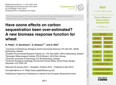 Have Ozone Effects on Carbon Sequestrati... by Pleijel, H.
