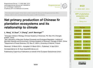 Net Primary Production of Chinese Fir Pl... by Wang, L.