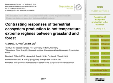 Contrasting Responses of Terrestrial Eco... by Zhang, Y.