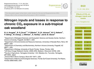 Nitrogen Inputs and Losses in Response t... by Hungate, B. A.