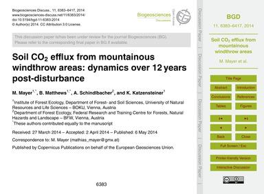 Soil Co2 Efflux from Mountainous Windthr... by Mayer, M.
