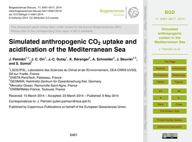 Simulated Anthropogenic Co2 Uptake and A... by Palmiéri, J.