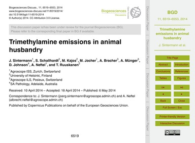 Trimethylamine Emissions in Animal Husba... by Sintermann, J.