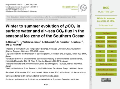 Winter to Summer Evolution of PCo2 in Su... by Nomura, D.