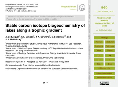 Stable Carbon Isotope Biogeochemistry of... by De Kluijver, A.