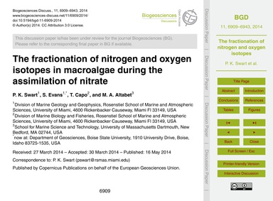 The Fractionation of Nitrogen and Oxygen... by Swart, P. K.