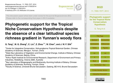 Phylogenetic Support for the Tropical Ni... by Tang, G.