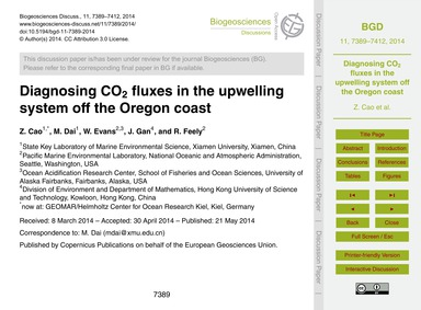 Diagnosing Co2 Fluxes in the Upwelling S... by Cao, Z.