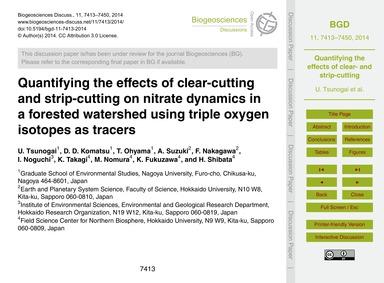 Quantifying the Effects of Clear-cutting... by Tsunogai, U.