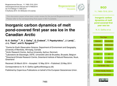Inorganic Carbon Dynamics of Melt Pond-c... by Geilfus, N.-x.
