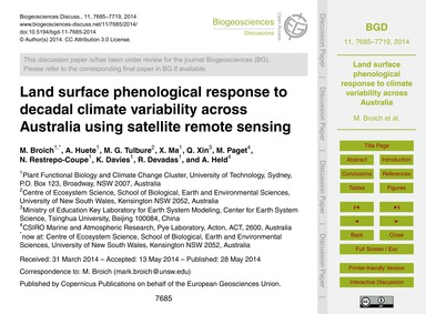 Land Surface Phenological Response to De... by Broich, M.