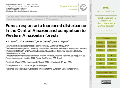 Forest Response to Increased Disturbance... by Holm, J. A.