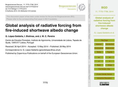 Global Analysis of Radiative Forcing fro... by López-saldaña, G.