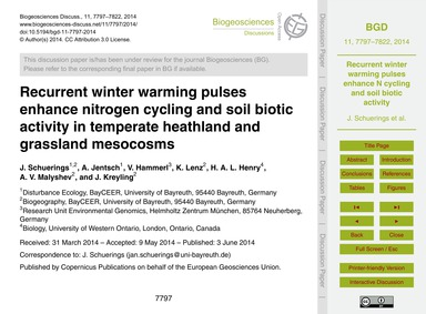 Recurrent Winter Warming Pulses Enhance ... by Schuerings, J.
