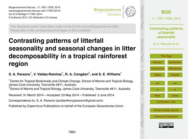 Contrasting Patterns of Litterfall Seaso... by Parsons, S. A.