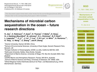 Mechanisms of Microbial Carbon Sequestra... by Jiao, N.
