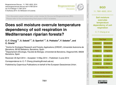 Does Soil Moisture Overrule Temperature ... by Chang, C.-t.