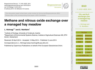 Methane and Nitrous Oxide Exchange Over ... by Hörtnagl, L.