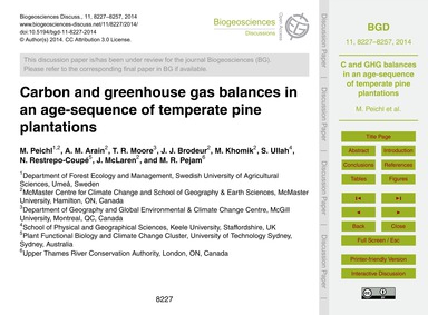 Carbon and Greenhouse Gas Balances in an... by Peichl, M.