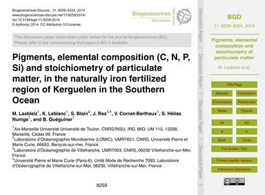 Pigments, Elemental Composition (C, N, P... by Lasbleiz, M.
