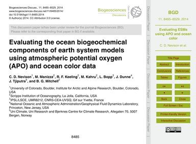 Evaluating the Ocean Biogeochemical Comp... by Nevison, C. D.