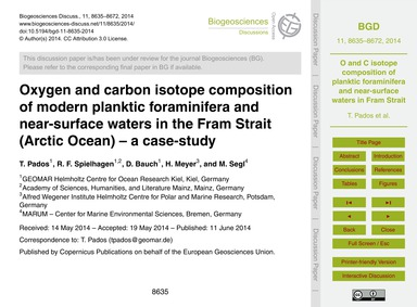 Oxygen and Carbon Isotope Composition of... by Pados, T.