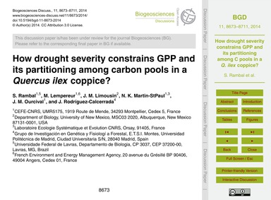 How Drought Severity Constrains Gpp and ... by Rambal, S.