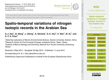 Spatio-temporal Variations of Nitrogen I... by Kao, S.-j.