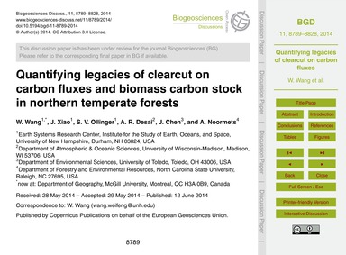 Quantifying Legacies of Clearcut on Carb... by Wang, W.